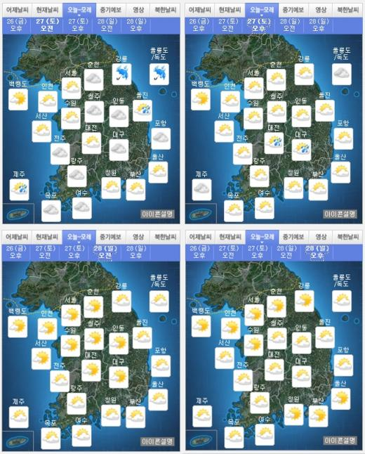 '오늘 날씨' '주말 날씨' 왼쪽 위부터 시계방향으로 27일(토) 오전·오후, 28일(일) 오후·오전 날씨 /자료=기상청