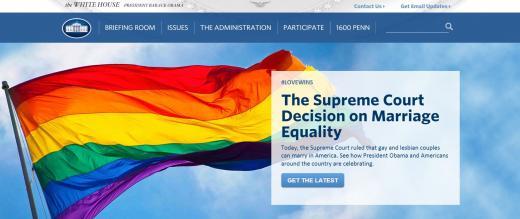 미국 동성결혼 합법화 판결 이후 이를 환영하는 '무지개 깃발'로 바꾼 미국 백악관 홈페이지. /사진=미국 백악관 홈페이지 캡처