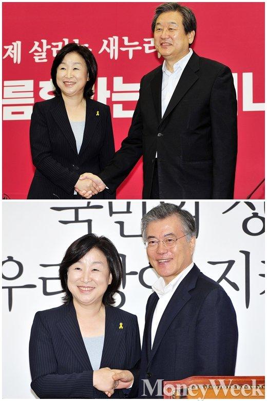 ▲새누리당 김무성 대표, ▼새정치민주연합 문재인 대표를 예방한 정의당 심상정 대표