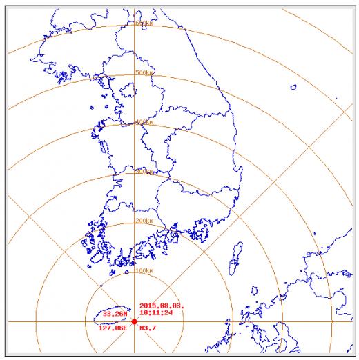 오늘(3일)  오전 10시 11분쯤 제주 서귀포시 성산 남동쪽 22km 해역에서 규모 3.7의 지진이 발생했다. /자료=기상청