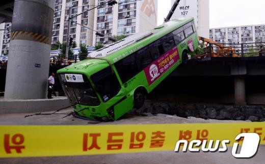지난 4일 서울 노원구 상계동 상계역 근처에서 마을버스가 도로를 이탈해 근처 당현천에 추락하는 사고가 발생했다. /사진=뉴스1