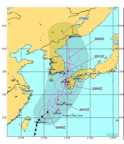 제15호 태풍 고니 예상경로. /자료=미국 태풍합동경보센터