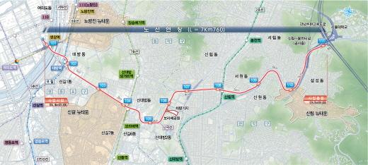 신림선경전철 노선도. 자료제공=서울시