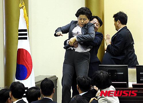 '남경순 의원' 남경순 의원이 새정치민주연합 소속 의원으로부터 끌려져 내려오고 있다. /사진=뉴시스