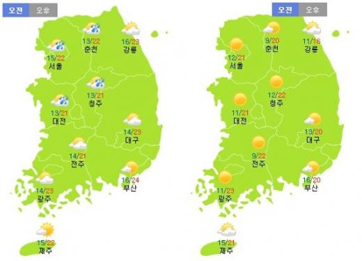 이번주 토요일(24일·왼쪽)과 일요일(25일) 날씨. /자료=기상청