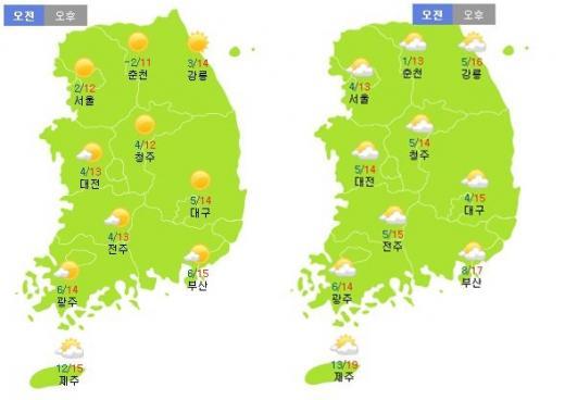 이번주 토요일(31일·왼쪽)과 일요일(11월1일) 날씨. /자료=기상청