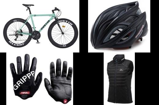 가을 자출족을 위한 자전거, 헬멧, 패딩 베스트, 장갑(왼쪽부터) /사진제공=삼천리자전거