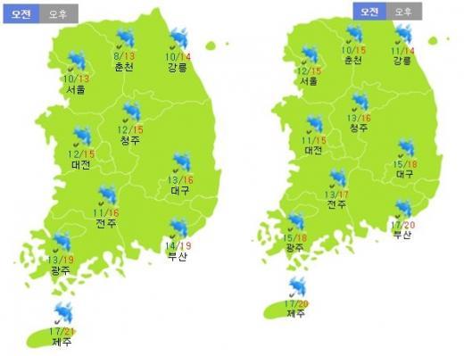 이번주 토요일(7일·왼쪽)과 일요일(8일) 날씨. /자료=기상청