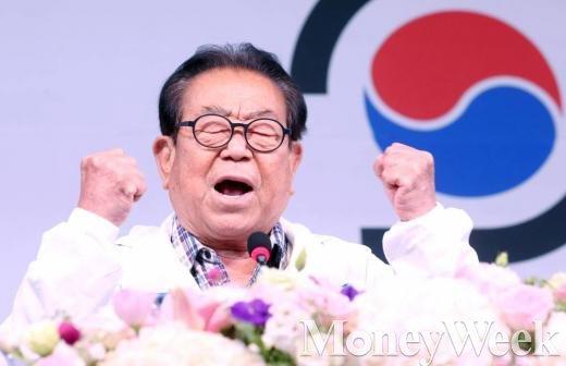 송해, 지난 9월 열린 90수 헌정공연 기자간담회(사진=머니투데이 홍봉진 기자)