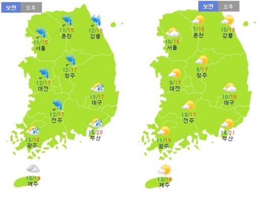 토요일(14일·왼쪽)과 일요일(15일) 날씨. /자료=기상청