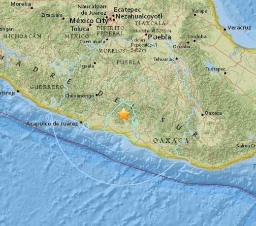 '멕시코 지진' /자료=미국지질조사국 제공