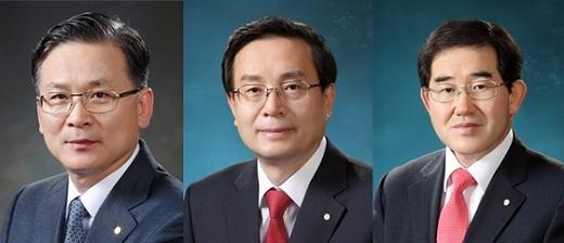 (왼쪽부터) 이동건 그룹장, 손태승 그룹장, 남기명 그룹장./사진=우리은행