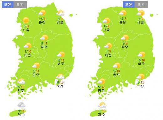 토요일(12일·왼쪽)과 일요일(13일) 날씨. /자료=기상청