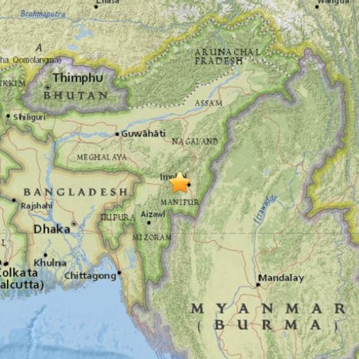 '미얀마 인도 지진' 4일 인도 임팔의 서북부에 규모 6.8의 강진이 발생했다. /자료=미국 지질조사국