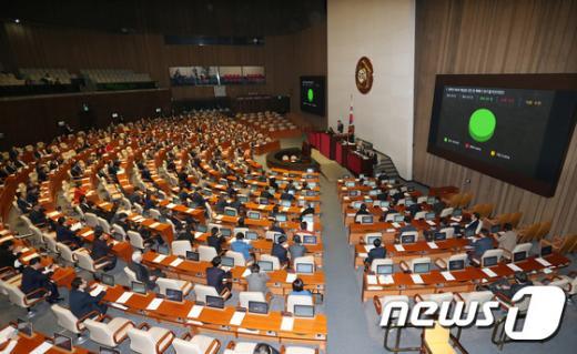 8일 오후 국회에서 열린 제338회 국회(임시회) 제3차 본회의에에서 북한의 제4차 핵실험 규탄 및 핵폐기 촉구 결의안이 통과되고 있다. /사진=뉴스1 박지혜 기자