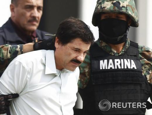 2014년 첫번째 탈옥에서 체포됐을 당시 멕시코 마약왕 호아킨 구스만. /사진=뉴스1 (로이터)