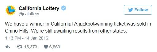 미국 캘리포니아 치노힐스에서 파워볼 당첨자가 나왔다. /자료사진=캘리포니아 복권사무소 공식 트위터
