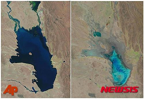 미국지질조사국(USGS)인공위성이 포착한 볼리비아 포포 호수의 모습. 왼쪽은 1986년10월11일에 찍었고, 오른쪽은 지난 16일(현지시간)에 찍은 것이다. 푸른 물이 들어찼던 호수의 수량이 안데스산맥 빙하가 사라지면서 급격히 줄어든 것을 한 눈에 알 수있다. /사진=뉴시스(AP 제공)