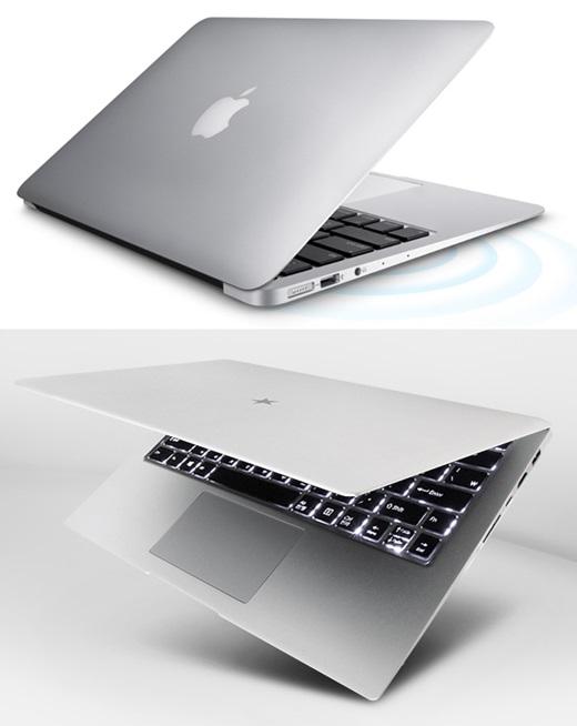 애플 '맥북에어'(위)와 한성컴퓨터 'A36X' /자료사진=애플, 한성컴퓨터