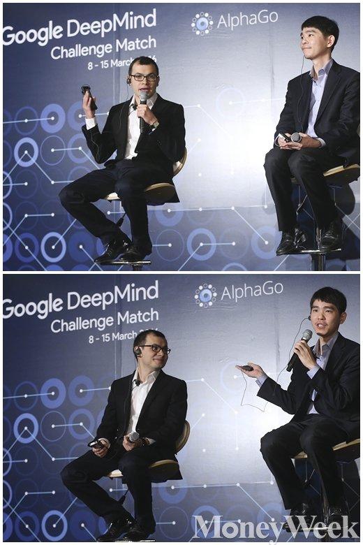 이세돌 9단과 구글딥마인드가 개발한 인공지능(AI)프로그램 알파고(AlphaGo)의 대국을 하루 앞 둔 8일 오전 서울 종로구 포시즌스호텔 서울 기자간담회장에서 이세돌 9단과 데미스 하사비스 구글딥마인드 CEO가 각오를 전하고 있다. /사진=임한별 기자