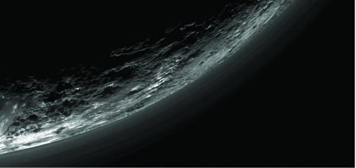 탐사선 '뉴호라이즌스'가 특수영상 카메라로 촬영한 명왕성 지표면에 연무가 자욱하다. /자료사진=나사(NASA)