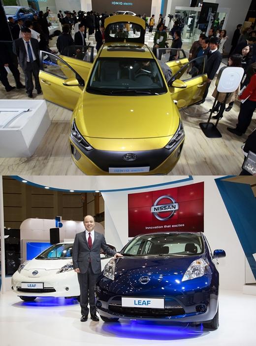 2016 국제 전기 자동차 엑스포에서 선보여진 아이오닉 일렉트릭(위)과 닛산 리프.