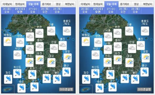 내일(27일) 오전(왼쪽), 오후 날씨. /자료=기상청