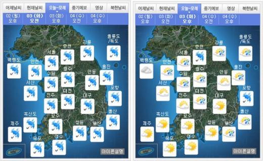 오늘(3일) 오전(왼쪽), 오후 날씨. /자료=기상청