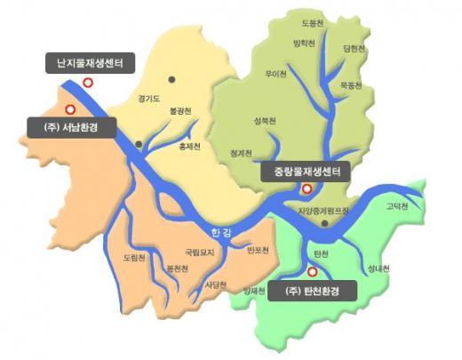 서울시 물재생센터가 에너지자립률 50%를 넘겼다. 서울시 물재생센터 위치. /자료=서울시 홈페이지 캡처