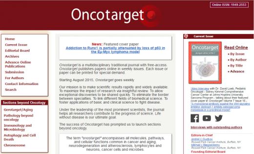 /자료=온코타깃(Oncotarget) 홈페이지