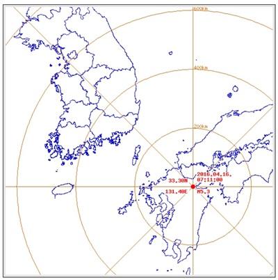 일본 지진으로 불안증세를 호소하는 학생들이 늘고 있다. 지난달 16일 오전 1시 25분 일본 구마모토에서 발생한 규모 7.1 지진. /자료=기상청(일본기상청 분석결과)