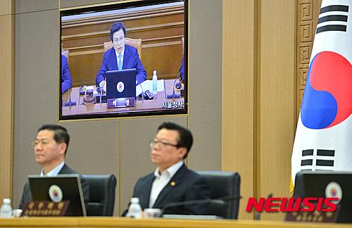 오늘(27일) 오전 정부세종청사 국무회의장에서 임시 국무회의가 열리고 있다. /자료사진=뉴시스