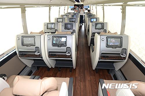 프리미엄 고속버스 시승행사가 오늘(14일) 세종정부청사 제2주차장에서 개최됐다. /사진=뉴시스