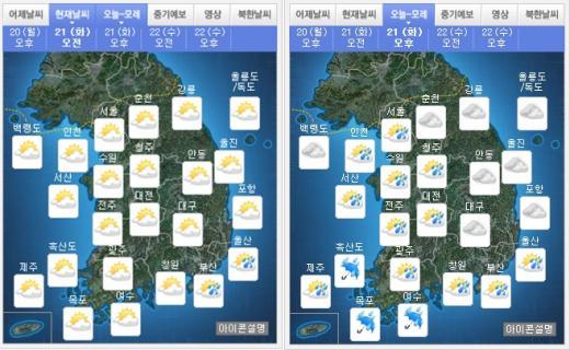 오늘(21일) 오전(왼쪽), 오후 날씨. /자료=기상청