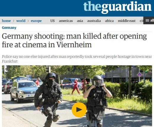 독일 남서부 극장서 총기 인질극. /사진=영국 가디언 캡처