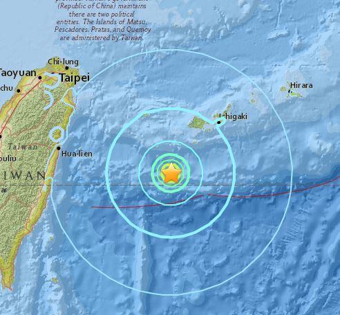 오키나와 지진. /자료=미국 지질조사국