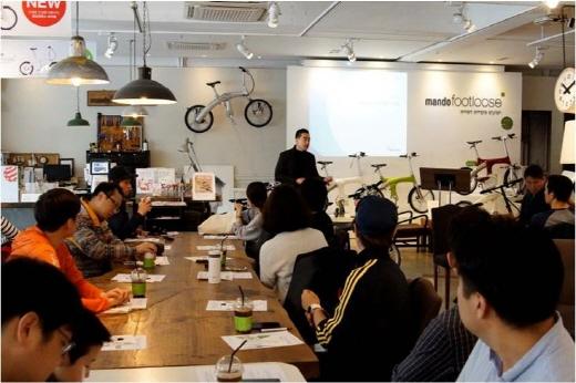 지난 4월 열린 E-bike 아카데미 교육 모습. /사진제공=만도