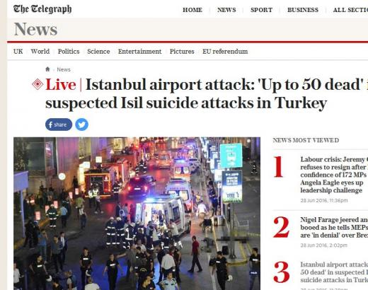 터키 이스탄불 테러. /사진=영국 텔레그래프 캡처