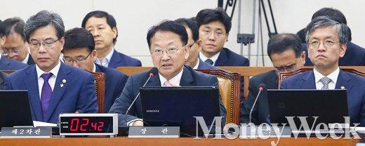 [MW사진] 국회 기재위 회의에 참석한 유일호 부총리