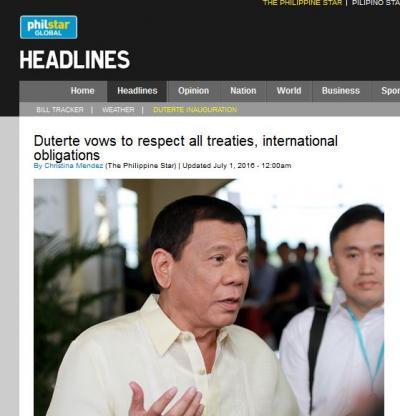 필리핀 신임 두테르테 대통령. /사진=필리핀스타 캡처
