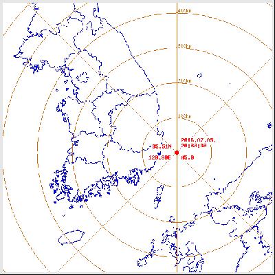 울산 지진. 2016년 7월 5일 오후 8시 33분 03초 울산 동구 동쪽 52km 해역에서 발생한 규모 5.0 지진. /자료=기상청