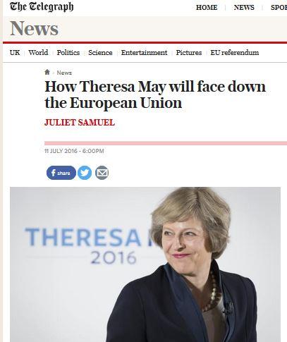 영국 총리. 테레사 메이 신임 총리. /사진=영국 텔레그래프 캡처