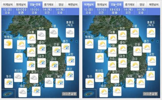 오늘(13일) 오전(왼쪽), 오후 날씨. /자료=기상청