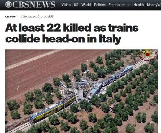 이탈리아 열차 사고. /사진=미국 CBS 캡처