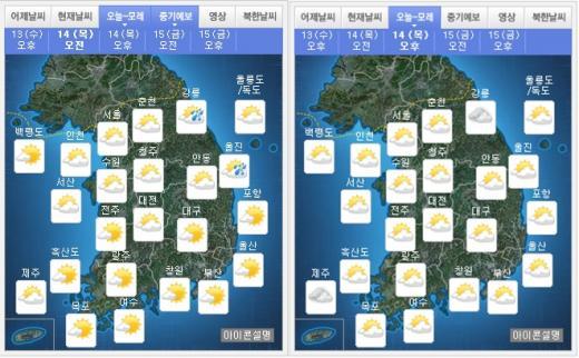 내일(14일) 오전(왼쪽), 오후 날씨. /자료=기상청