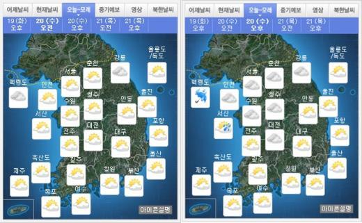 오늘(20일) 오전(왼쪽), 오후 날씨. /자료=기상청