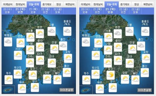 내일(21일) 오전(왼쪽), 오후 날씨. /자료=기상청