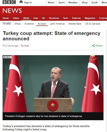 터키 3개월간 국가비상사태 선포하는 에르도안 대통령. /자료=BBC방송 캡처