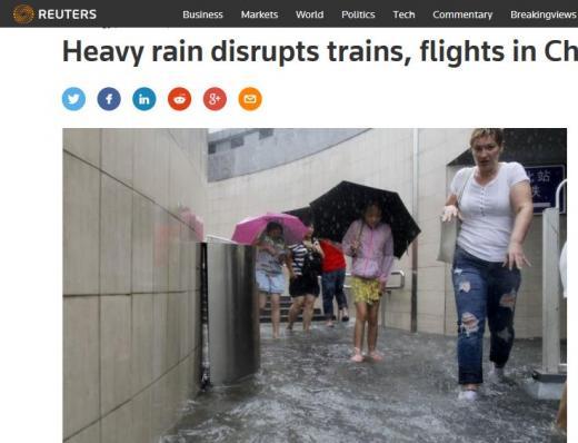 중국 홍수. /사진=영국 로이터 캡처