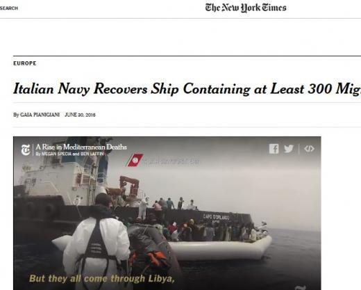 인양 이탈리아. 난민선. /사진=미국 뉴욕타임스 캡처